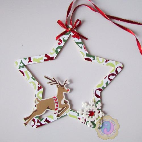 decoración navideña, estrella de madera para puerta.