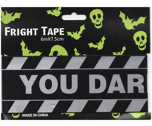 decoración para halloween cinta de precaución you dare negro/plata