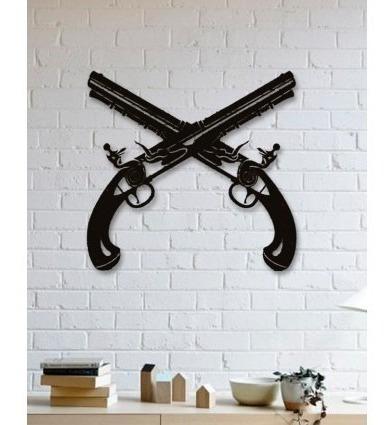 decoración para muro cuadro moderno pistolas 60x60