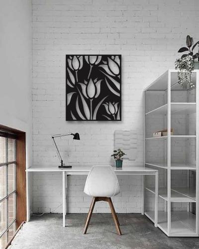 decoración para muro cuadro moderno tulipanes 59x45 cm