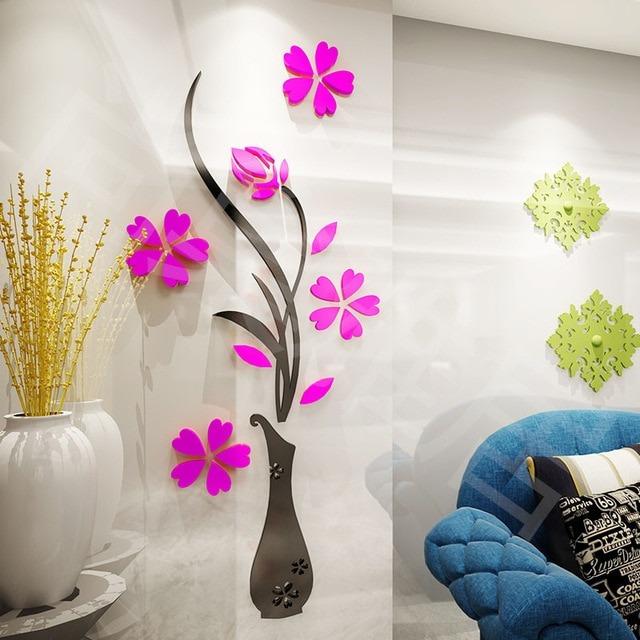 Decoracion pared acrilico hermoso florero flores jarron 3d for Decoracion con espejos en paredes