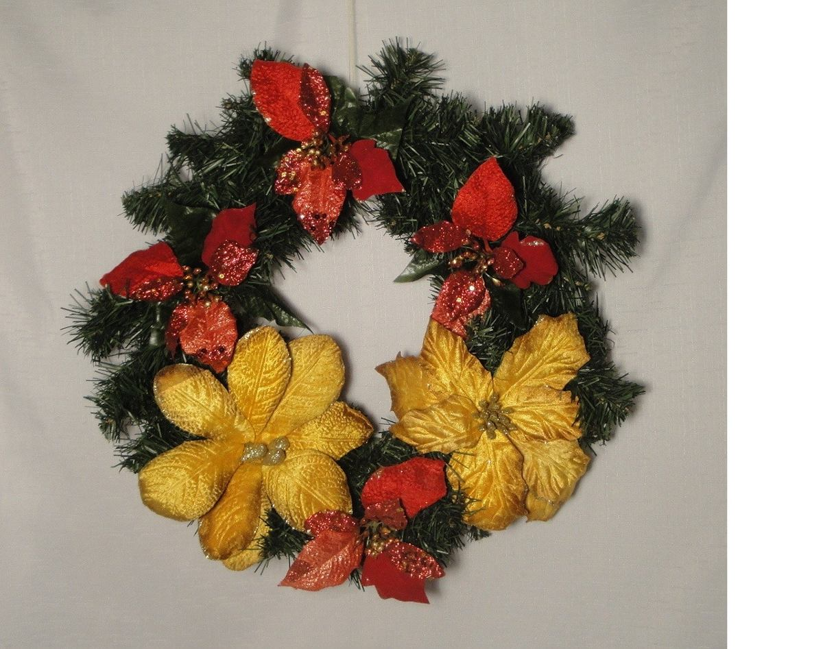 Decoracion Rosca Corona De Navidad Para Puerta 40 Cm 74900 En - Coronas-de-navidad-para-puertas