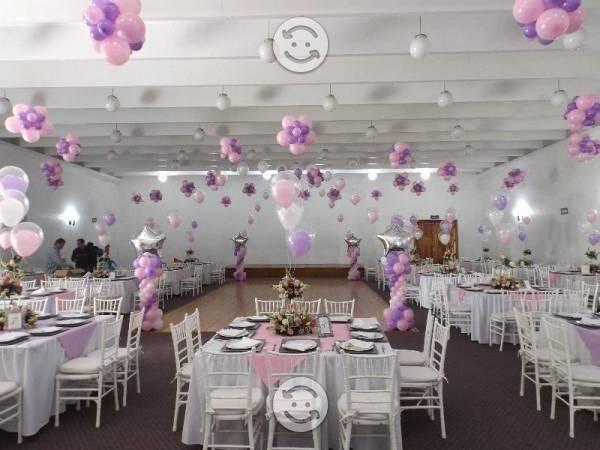 Decoracion salon de eventos globos tela boda bautizo xv for Decoracion salon xv anos