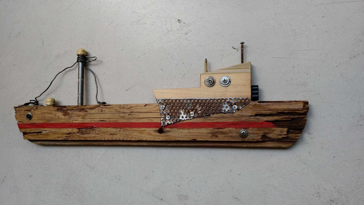 decoracion vintage barco en madera