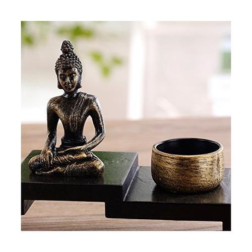 decoración zen mini estatua de buda con 2 portavelas de la v