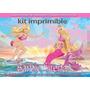 Kit Imprimible Barbie Sirena Tarjeta Decoracion Fiesta Globo