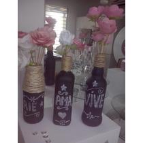 Botellas De Vidrios Decoradas. Bodas. Decoracion Vintage