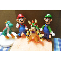 Topes De Tortas Masa Flexible - Mario Bross 4 Pieza