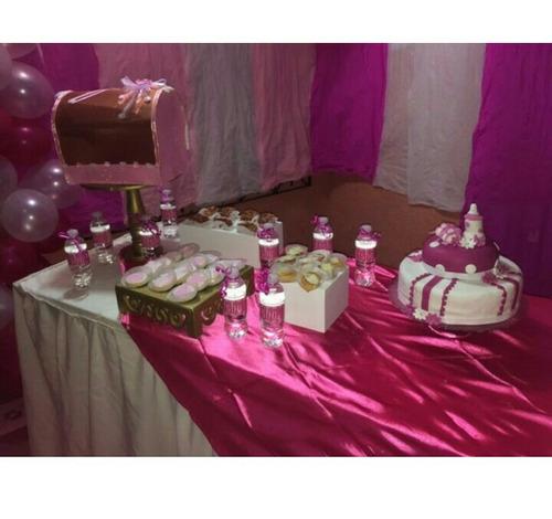 decoraciones, comida tipo buffet, etc.