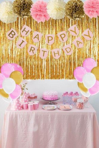 Decoraciones de cumplea os de color rosa y dorado con - Decoracion para cumpleano ...