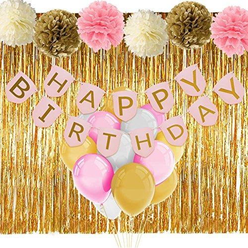 Decoraciones de cumplea os de color rosa y dorado con for Decoracion con globos para cumpleanos