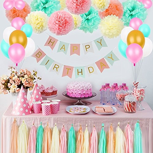 I Am One Pink And Gold Birthday Party Decorations One High: Decoraciones De Cumpleaños Para Niñas, Kit De Flores Pom