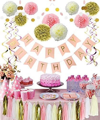 Decoraciones De Cumpleanos Rosadas Y Doradas Flores De Pom