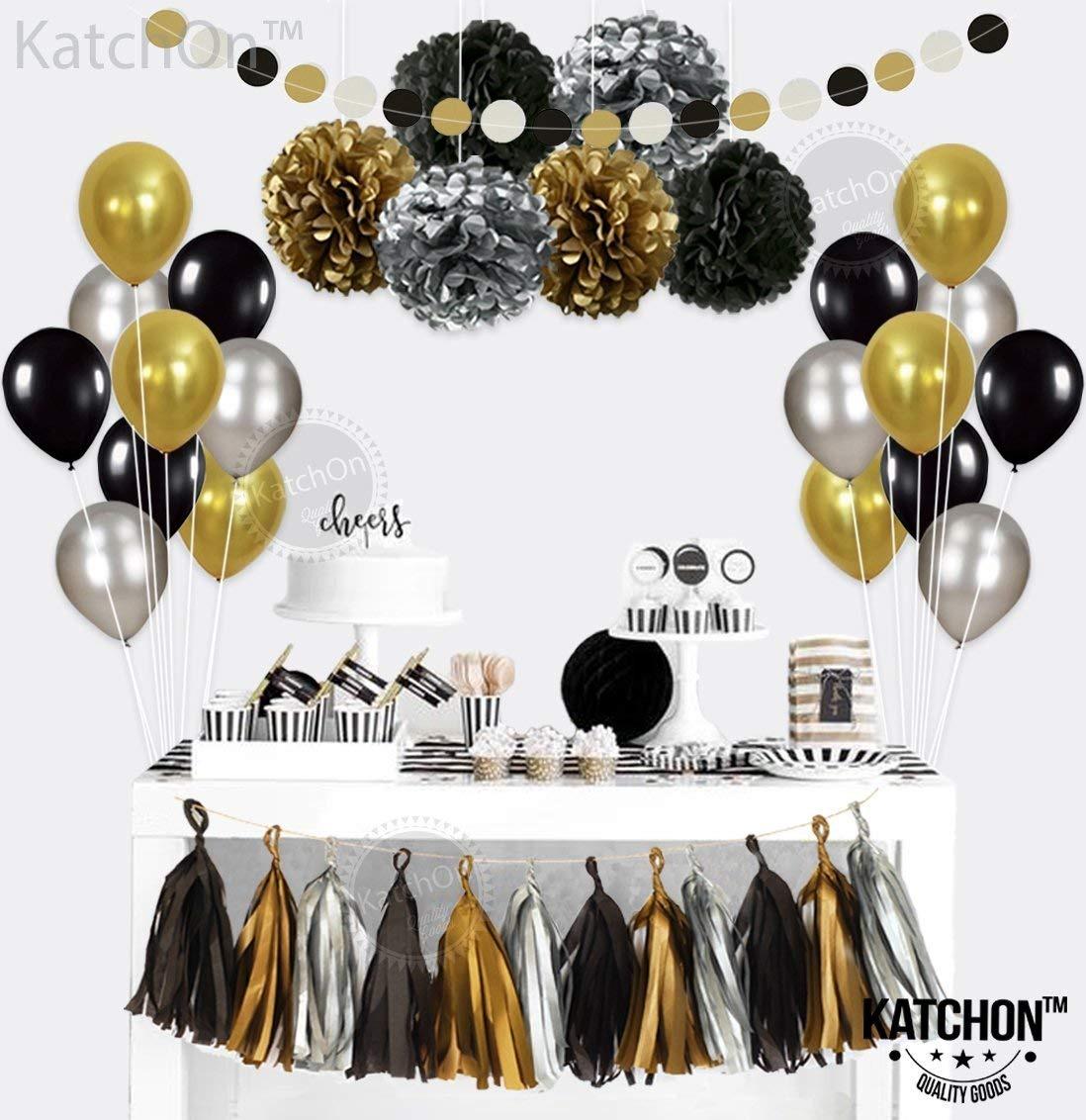 Feliz Cumpleaños Decoración Fiesta Negro y Plata