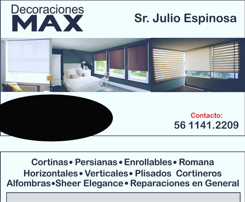 decoraciones max. cortinas. persianas. cortineros