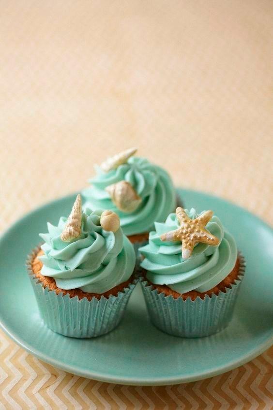 Decoraciones para cupcake de playa conchas de fondant for Decoracion en cupcakes