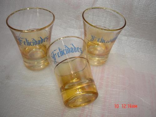 decoração antigo conj. 3 copos drink vidro fios ouro  dec.20