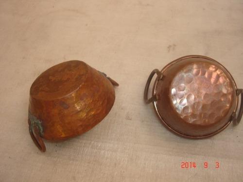 decoração antigo conjunto  mini tachos  de cobre