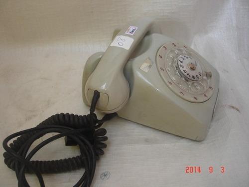 decoração antigo telefone  disco bege cinza não func nº 08