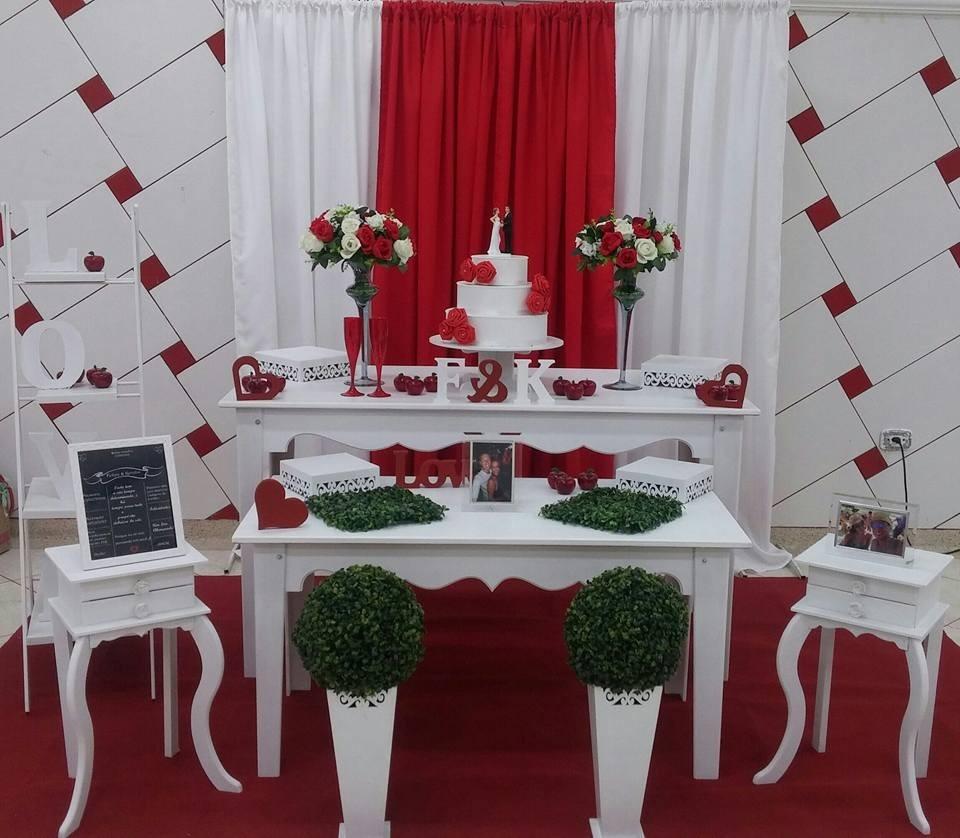 Decoraç u00e3o Casamento Vermelho E Branco R$ 400,00 em Mercado Livre -> Decoração Para Casamento Vermelho Branco E Dourado