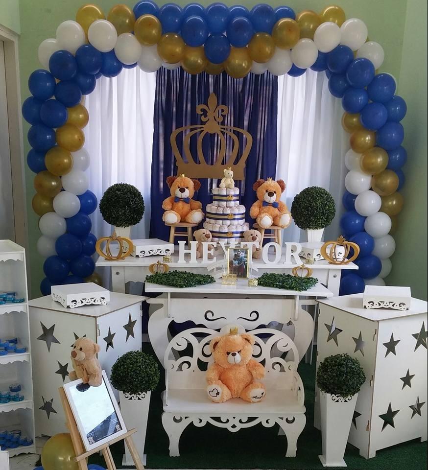 Decoraç u00e3o Chá De Bebe Urso Príncipe R$ 350,00 em Mercado Livre -> Decoração Cha De Bebe Tema Urso