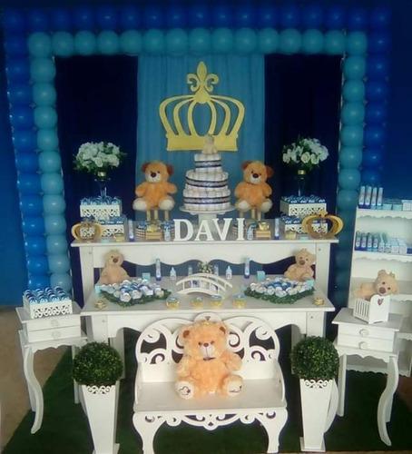 decoração chá de bebe urso  príncipe sem baloes