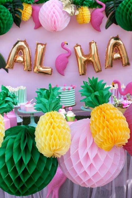 Decoração De Frutas Festa Havaiana Piscina Luau Praia Bolas R