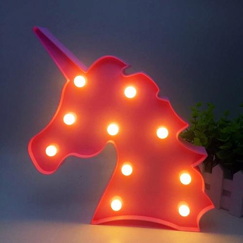 decoração enfeite luminária led abajur cabeça unicórnio rosa