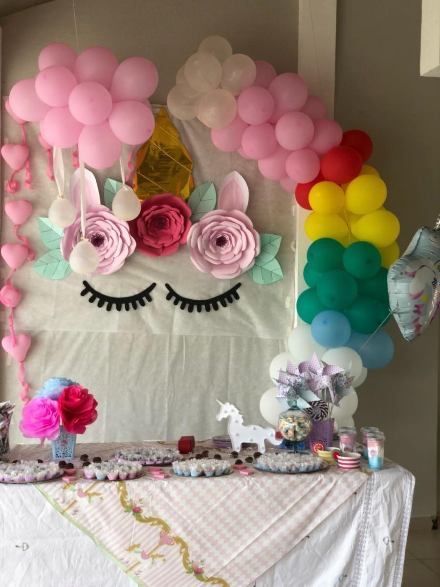 Decoraç u00e3o Festa Infantil Unicórnio Em Papel Usada Uma Vez R$ 150,00 em Mercado Livre -> Decoracao De Unicornio Infantil