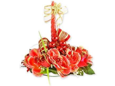 decoração floral - castiçal e vela luxemburgo pintado à mão