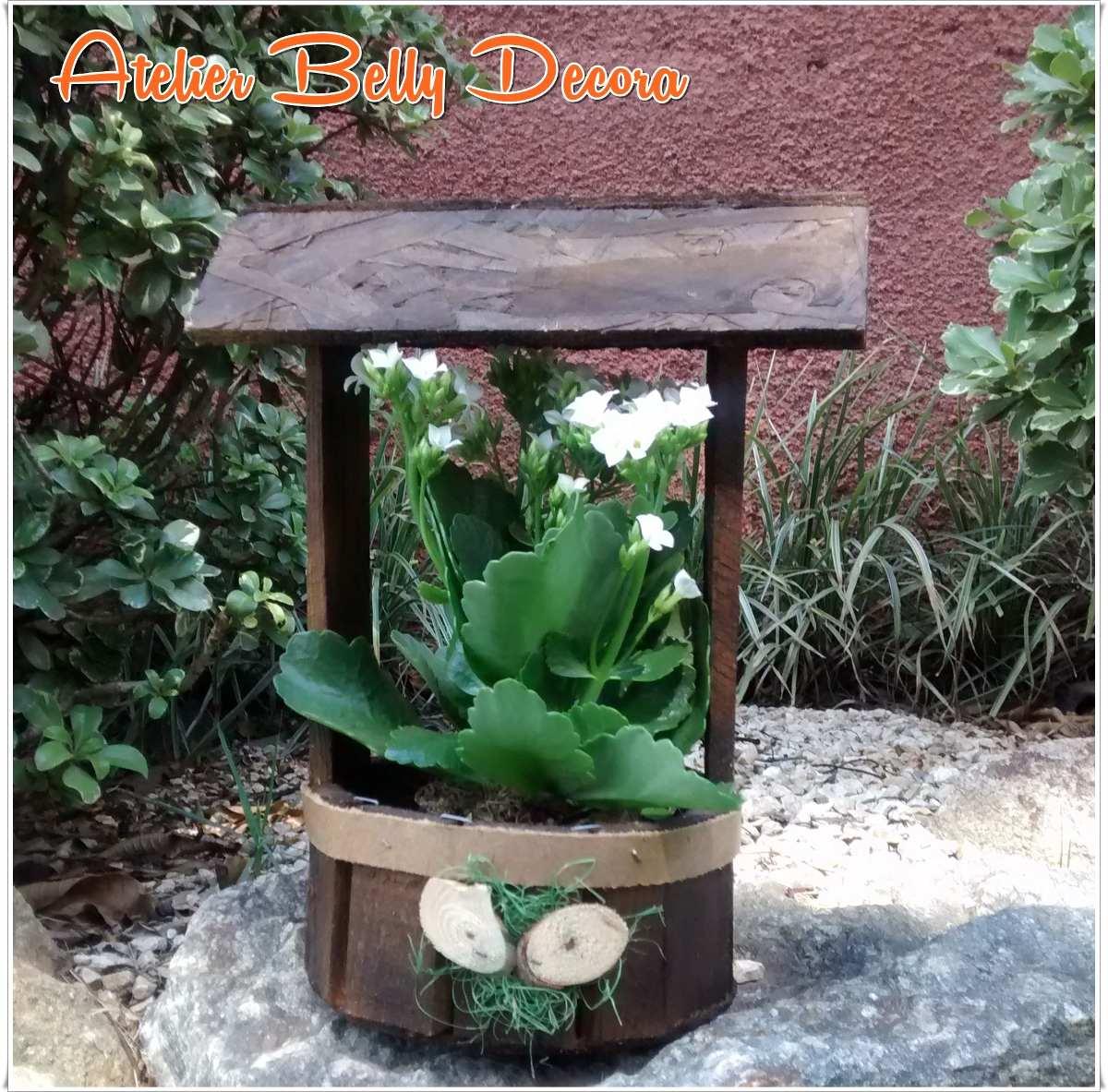 Adesivo Para Box De Banheiro ~ Decoraç u00e3o Jardim Madeira Rustica Artesanal Poço Cachep u00f4 Flor R$ 21,89 em Mercado Livre