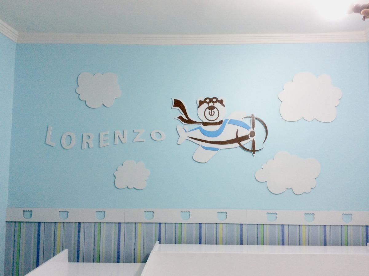 d19ced402 decoração urso aviador - quarto bebê completa em mdf pintado. Carregando  zoom.