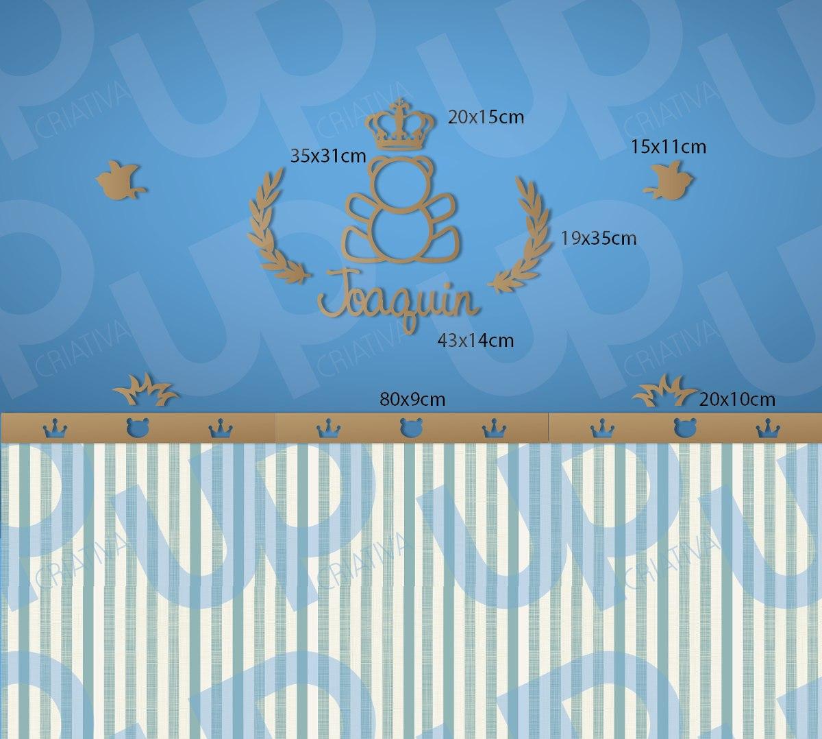 Decora O Urso Pr Ncipe Princesa Coroa Quarto Beb Mdf Cru R  ~ Quarto De Bebe Masculino Principe