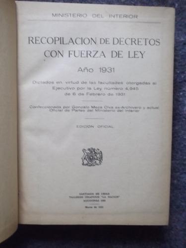 decretos con fuerza de ley año 1931 empastado