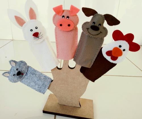 dedoches fazendinha em feltro - kit com 5 personagens