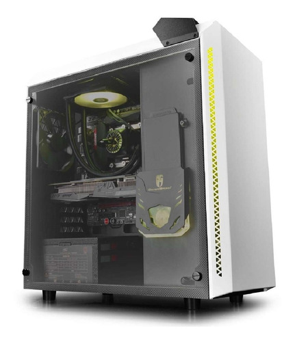deepcool baronkase liquid white pc case, pre installed integ