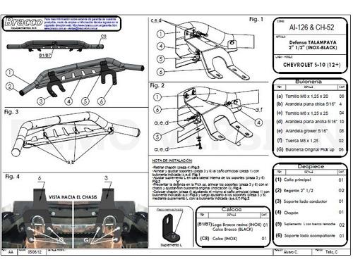 defensa baja s10 inoxidable 2012 a 2016  original bracco