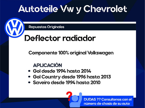 deflector radiador gol, gol country, saveiro original