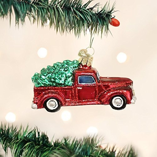 OLD WORLD CHRISTMAS OLD TRUCK WITH CHRISTMAS TREE GLASS CHRISTMAS ORNAMENT 46029
