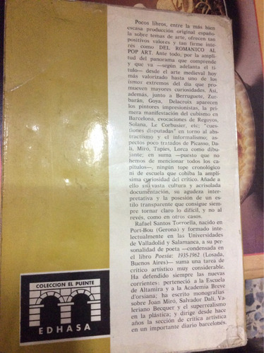del románico al pop art - rafael santos torroella - edhasa