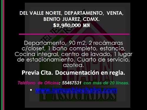 del valle norte, departamento, venta, benito juarez, cdmx.