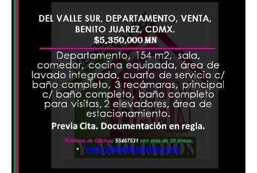 del valle sur, departamento, venta, benito juarez, cdmx.