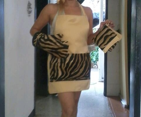 delantal  animal print gold leopard