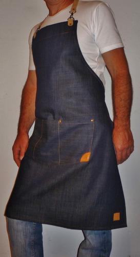 delantal cocina jean y cuero gastronomico chef hombre mujer