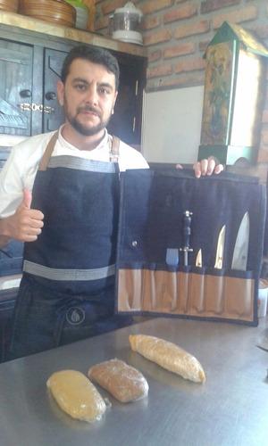 delantal de chef y cocinero bluejeans cuero marca tuestuchef