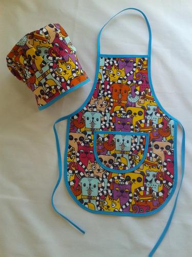 delantal de cocina infantil con gorro de cocinero nene varon