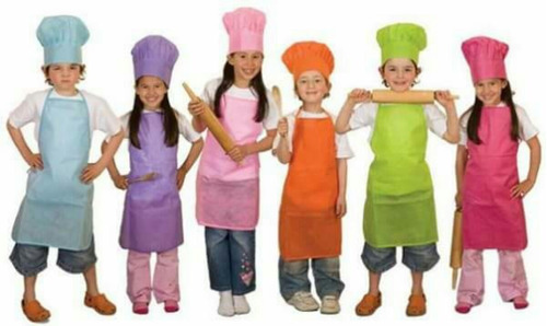 delantal de cocina y gorro para niños