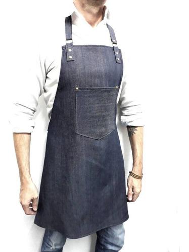 delantal de jean cocina barbería bartender oficios arte