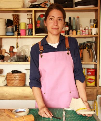 delantal jean o gabardina- cuero mosquetones - baking cakes®