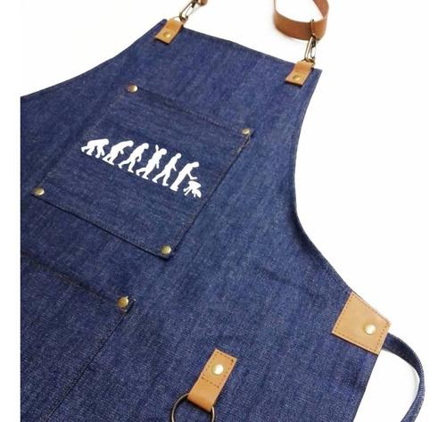 delantal jean y cuero estampado diseño asador parrillero